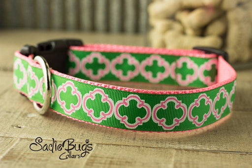 St. Patricks Day Quatrefoil dog collar -  Green and Pink