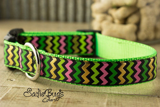 St. Patricks Day Chevron dog collar - Lime Green, Pink, Green