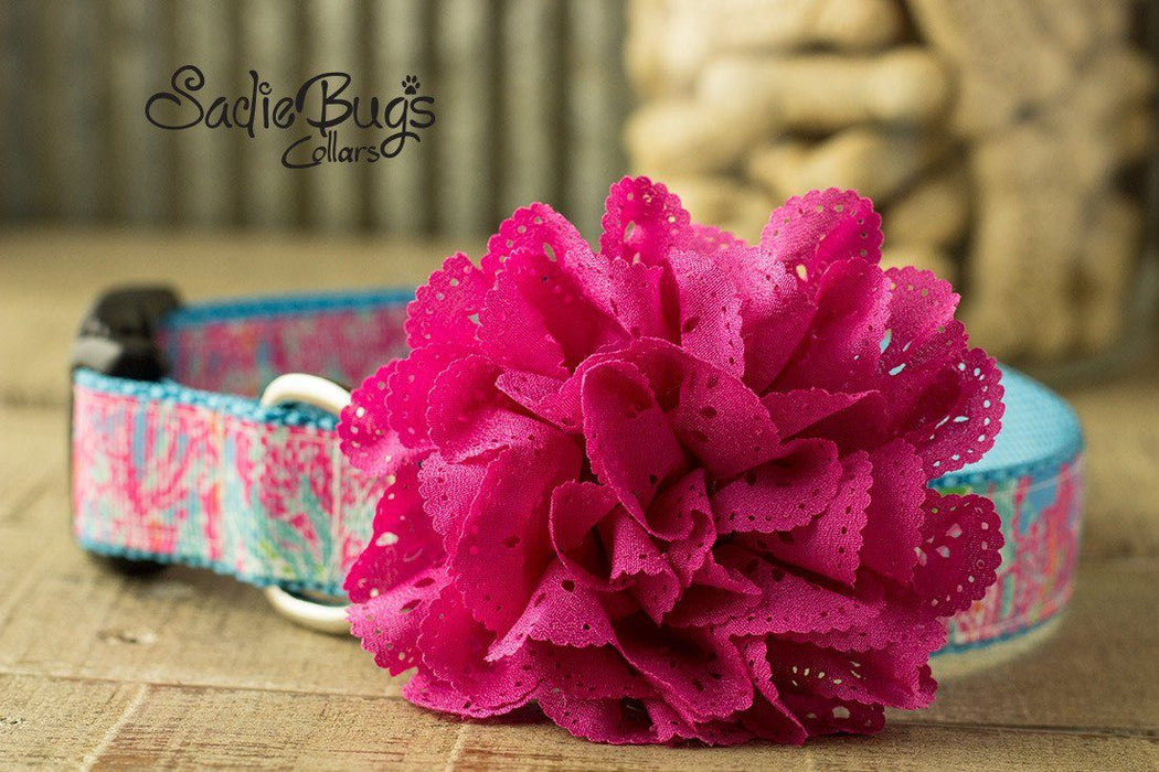 Hot Pink eyelet lace flower collar attachment