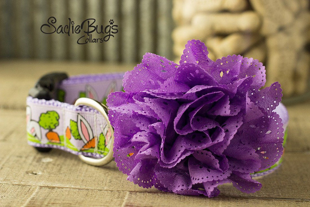 Purple eyelet lace flower collar attachment