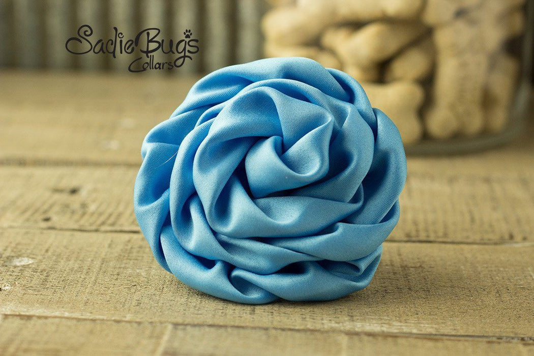 Turquoise flower collar attachment - Rolled Satin