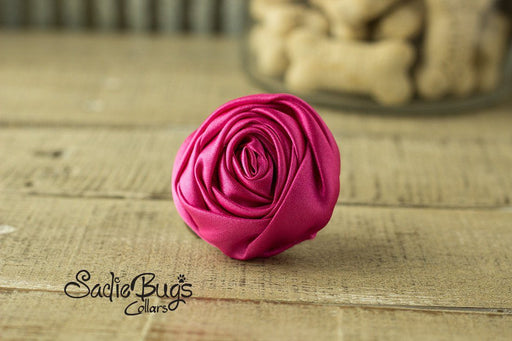 "Hot Pink Rolled Satin Flower Collar Accessory - Small 1.5"" Flower"