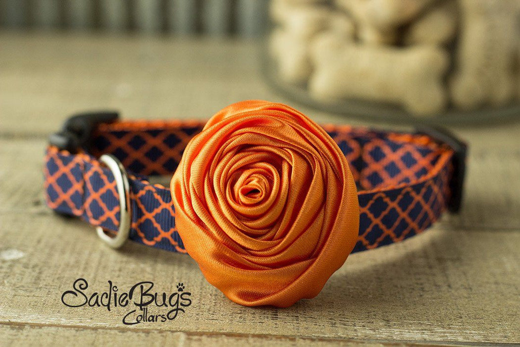 "Orange Rolled Satin Flower Collar Accessory - Small 1.5"" Flower"