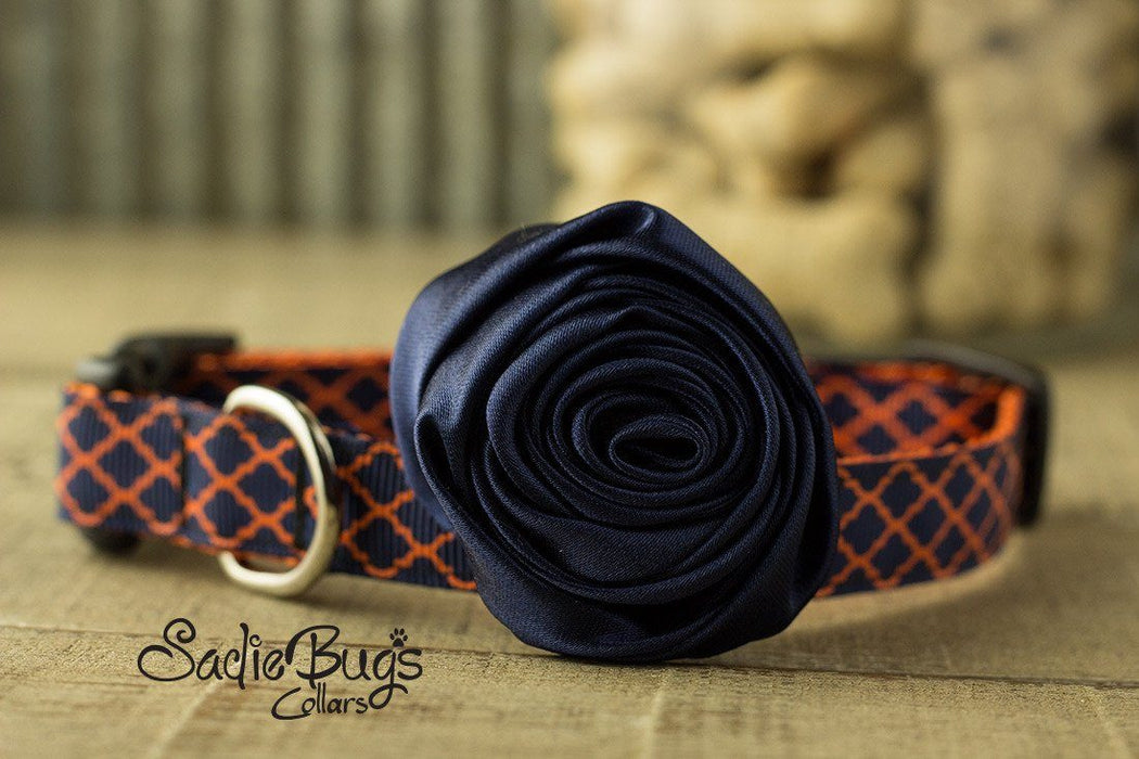 "Navy Blue Rolled Satin Flower Collar Accessory - Small 1.5"" Flower"