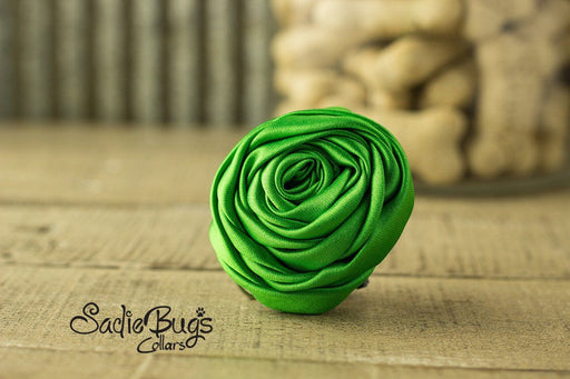 "Lime Green Rolled Satin Flower Collar Accessory - Small 1.5"" Flower"