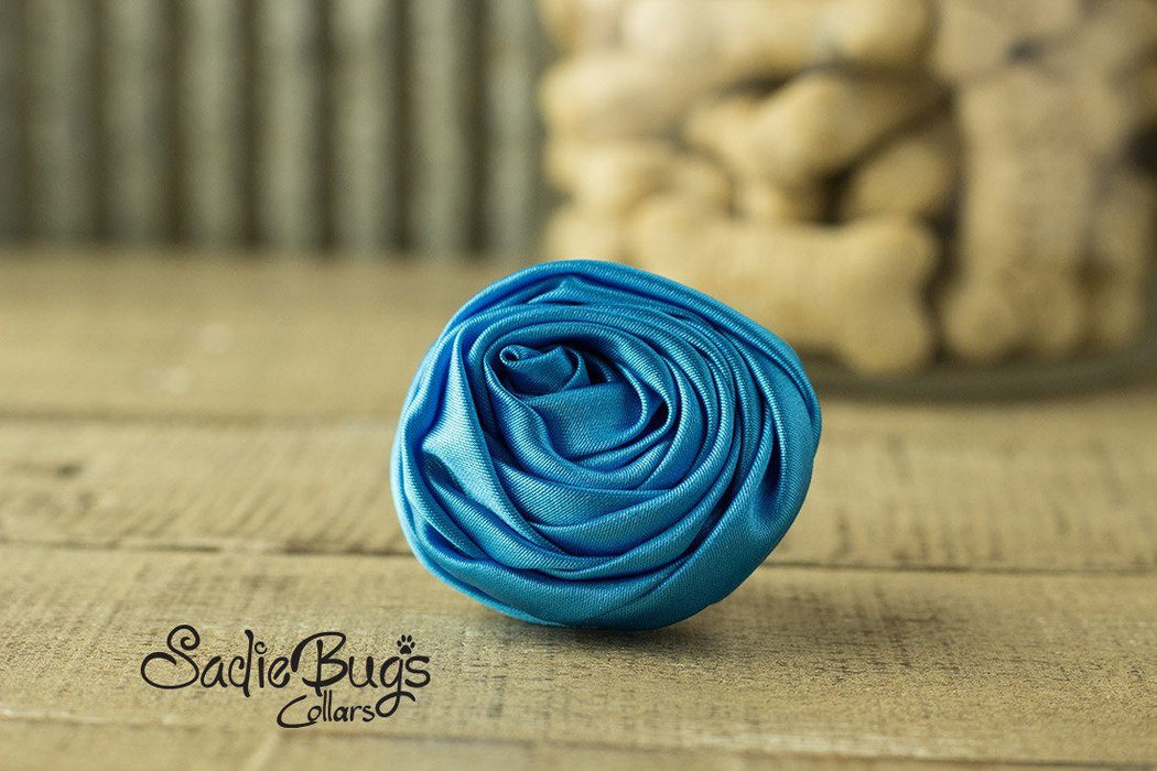 "Turquoise Rolled Satin Flower Collar Accessory - Small 1.5"" Flower"