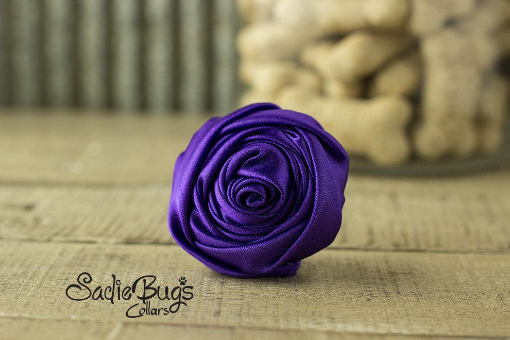 "Purple Rolled Satin Flower Collar Accessory - Small 1.5"" Flower"
