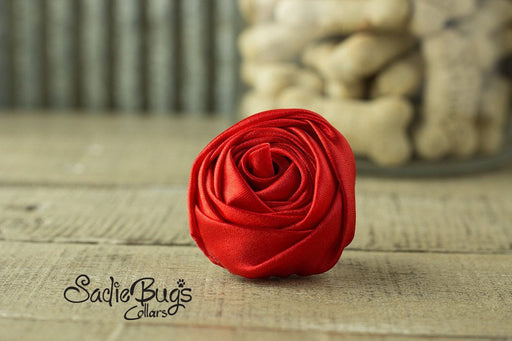 "Red Rolled Satin Flower Collar Accessory - Small 1.5"" Flower"