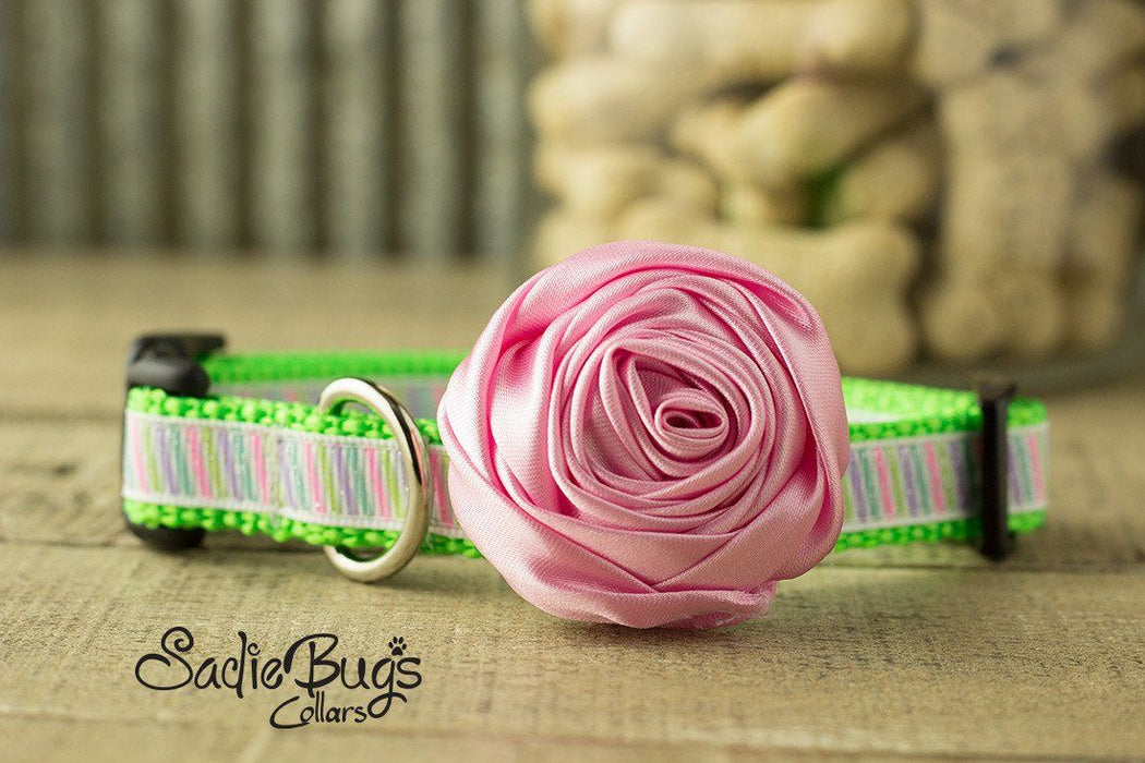 "Light Pink Rolled Satin Flower Collar Accessory - Small 1.5"" Flower"