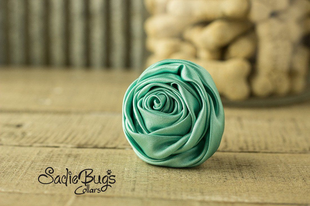 "Teal Rolled Satin Flower Collar Accessory - Small 1.5"" Flower"