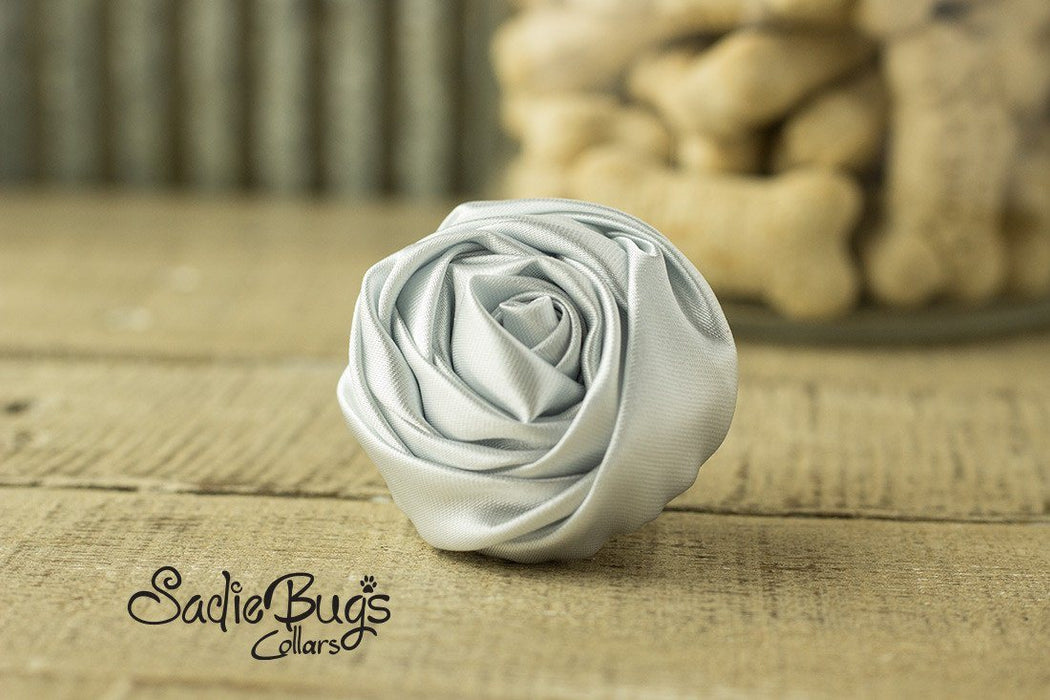 "Silver Gray Rolled Satin Flower Collar Accessory - Small 1.5"" Flower"