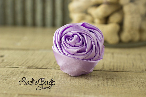 "Lavender Rolled Satin Flower Collar Accessory - Small 1.5"" Flower"