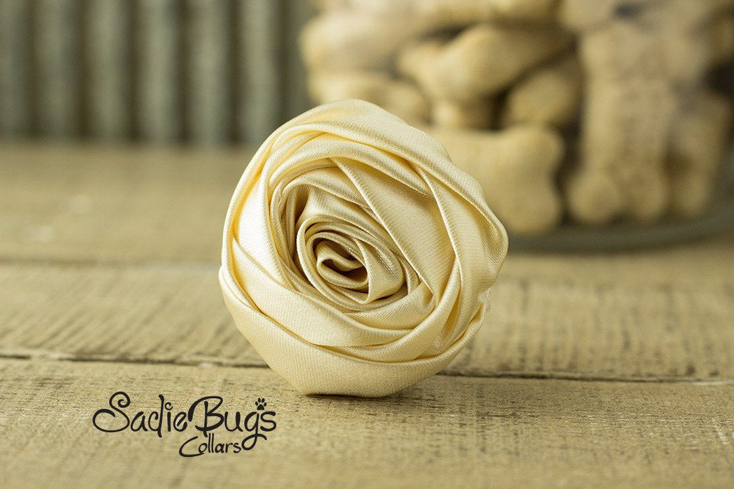 "Beige Rolled Satin Flower Collar Accessory - Small 1.5"" Flower"