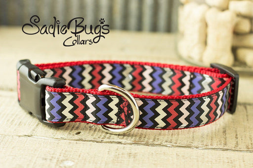 Red, White, Blue Chevron Dog Collar - Patriotic dog collar