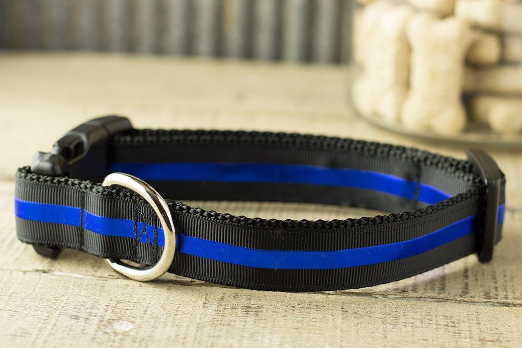 Blue Line Dog Collar - Police Memorial dog collar