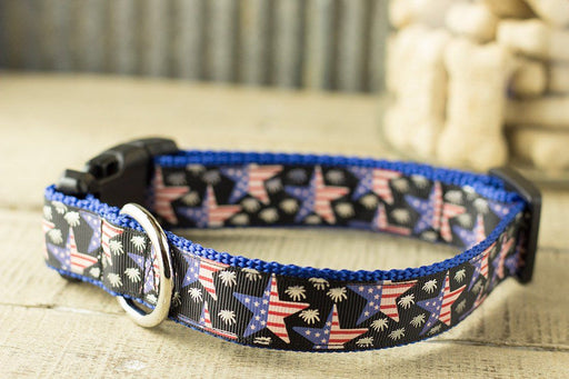 American Flag Stars Dog Collar - Patriotic dog collar