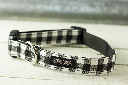 Black and White Buffalo Plaid dog collar