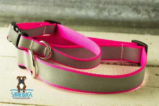 Hot pink reflective dog collar