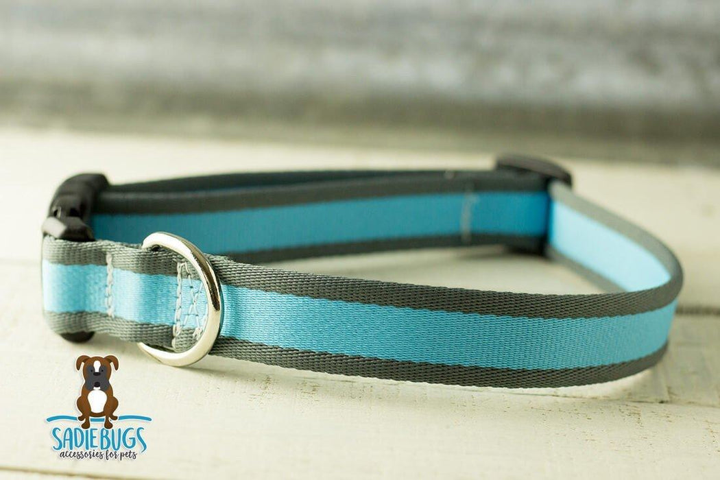 Blue and gray stripe dog collar