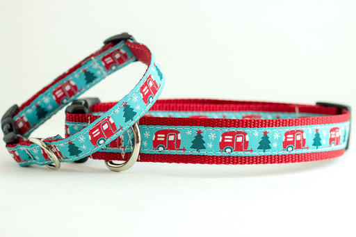 Christmas Camper Dog Collar - turquoise and red