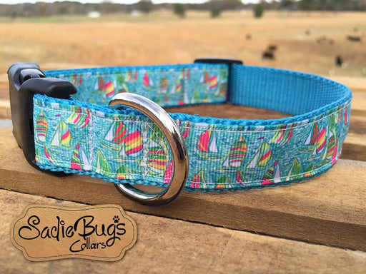 Nautical Sailboat dog collar - Lily Fabric inspired