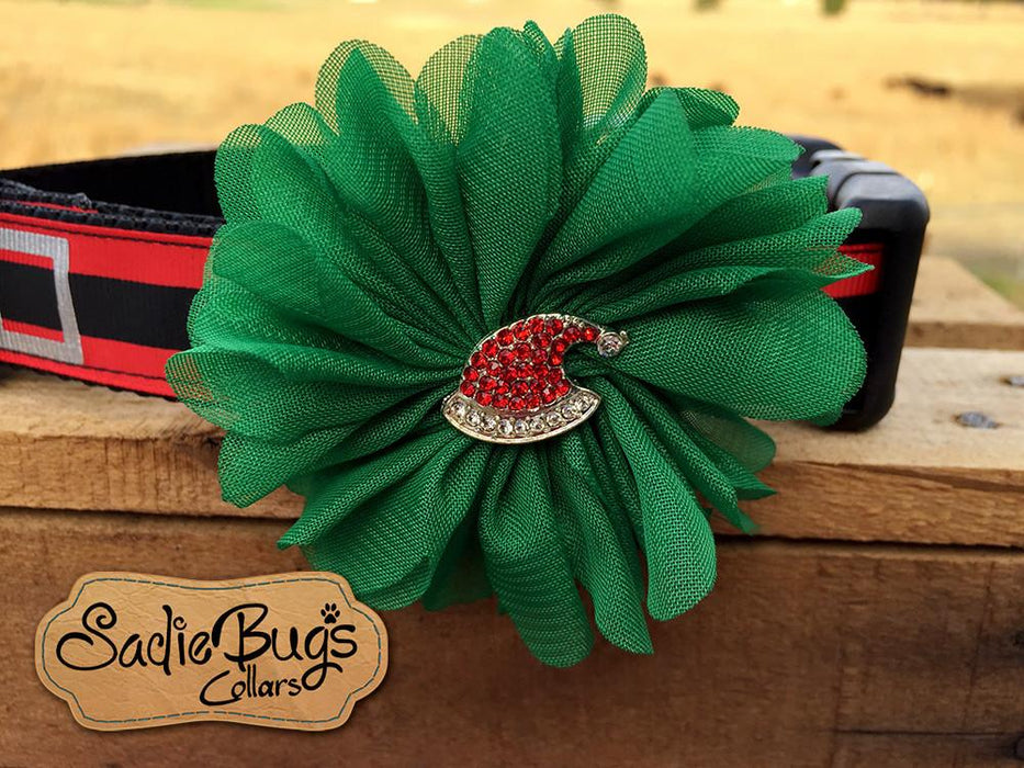 Santa hat Christmas flower collar attachment - Christmas dog collar