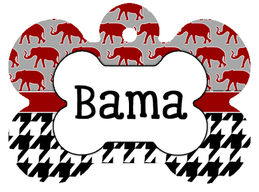 Alabama Crimson Tide elephant Personalized Dog Tag