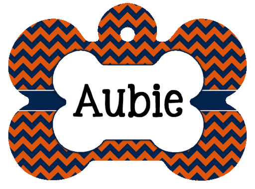 Orange and Blue chevron print pet id tag