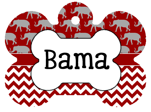 Alabama Crimson Tide chevron Custom Pet ID Tag