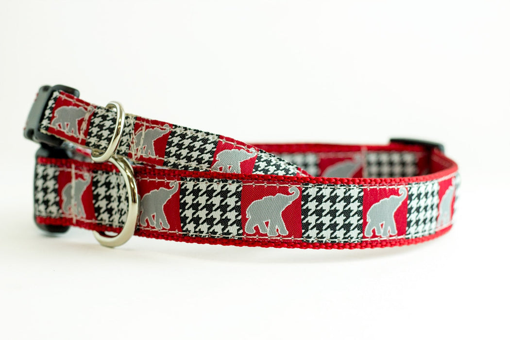 Alabama Football Elephant Houndstooth Dog Collar, Roll Tide, Bama