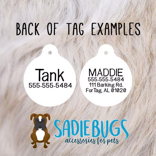 Custom Pet ID Tag checkered bone, Personalized Dog Tag, Identification name tag, Cat Tag, Lunch Box Tag, Bag Tag