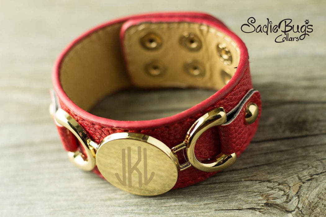 Red Leather Personalized Bracelet Initial - Choose Color and Font