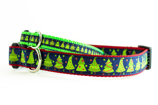 Christmas tree Dog Collar - Navy
