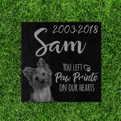 Pet Memorial Stone - You left paw prints