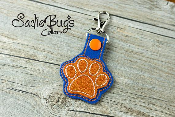 Orange and Blue Paw Print Keychain Bag tag