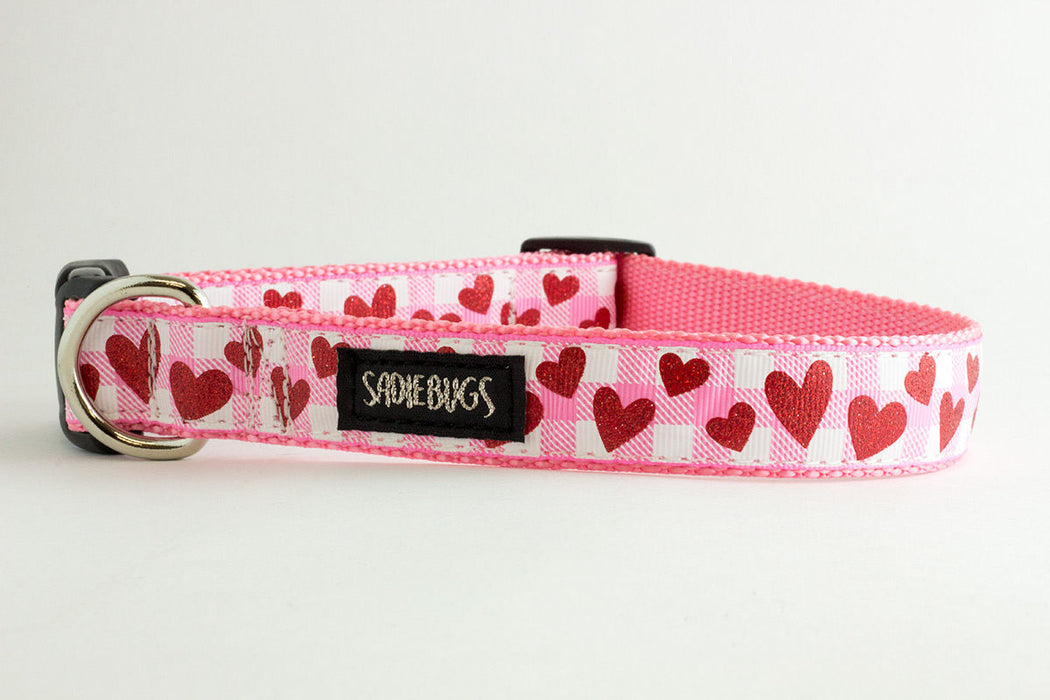 Heart Valentines Pink and White Plaid dog collar