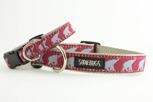 University Of Alabama Football Elephant Dog Collar, Roll Tide, Crimson