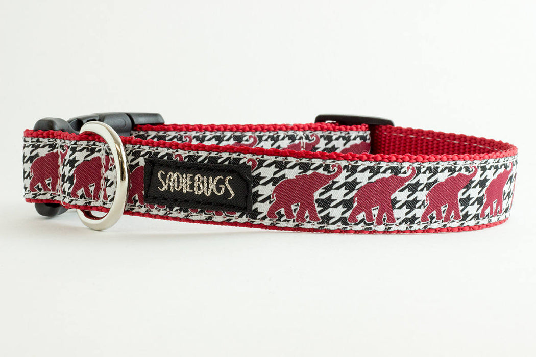 University Of Alabama Football Houndstooth Elephant Dog Collar, Roll Tide, Bama