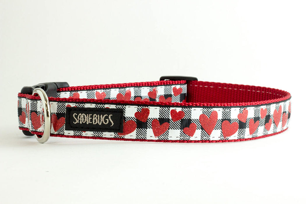 Heart Valentines Black and White Plaid dog collar