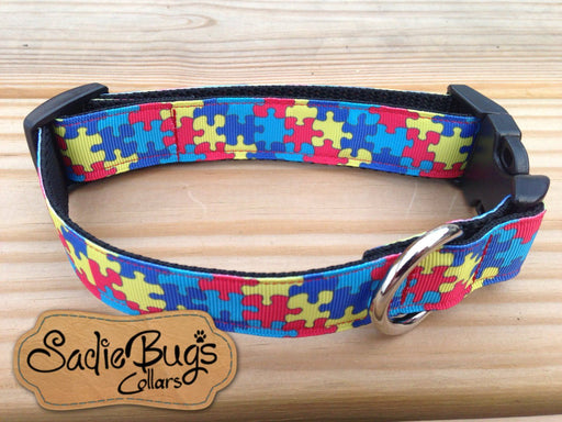 Autism Awareness Puzzle Dog Collar