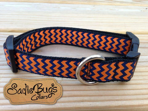 Orange and Blue Dog Collar, Navy and Orange Chevron