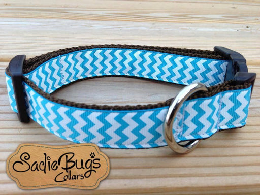 Turquoise and White Chevron Dog Collar