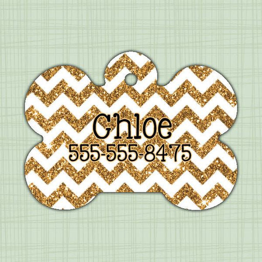 Chevron glitter Pet ID Tag