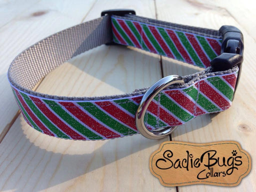 Christmas dog collar with red and green stripes