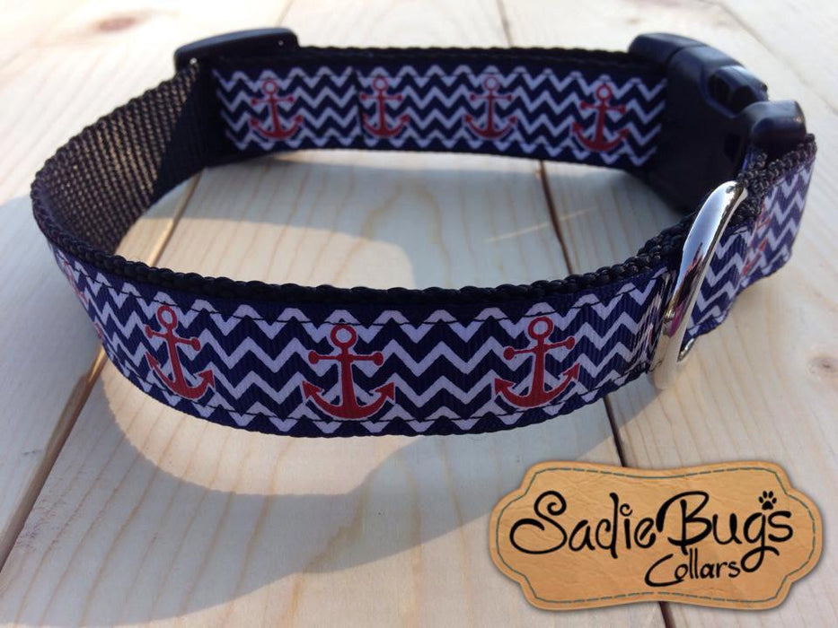 Anchor chevron dog collar, nautical dog collar, blue and white dog collar