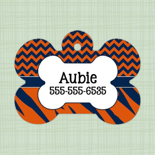 Orange and Blue stripe chevron print pet id tag