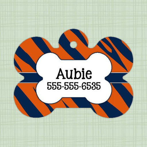 Orange and Blue Tiger Stripe Pet ID Tag