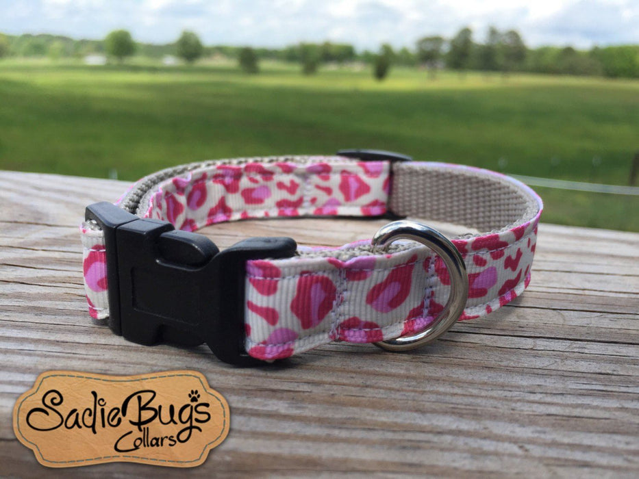 Leopard dog collar, cream and pink dog collar 5/8 & 3/4 Width