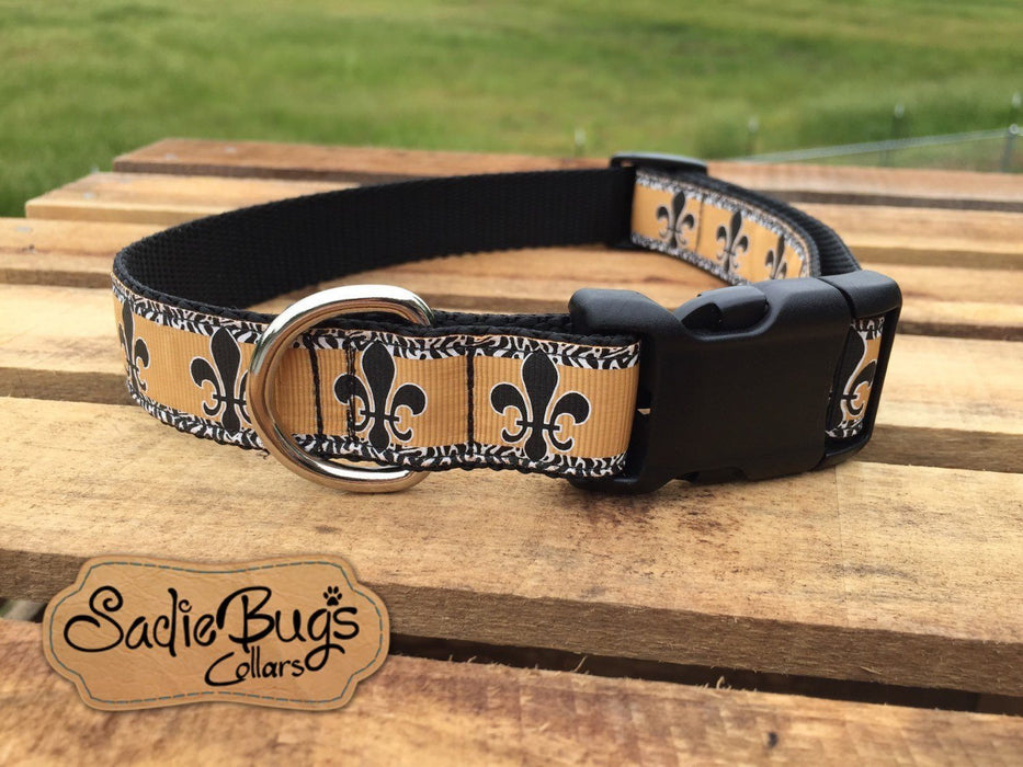 Fleur-de-lis dog collar, New Orlean Saints dog collar, black and gold