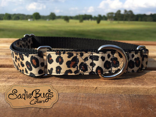 "Leopard Martingale Collar Dog Collar 1"" 1.5"" Adjustable dog collar"